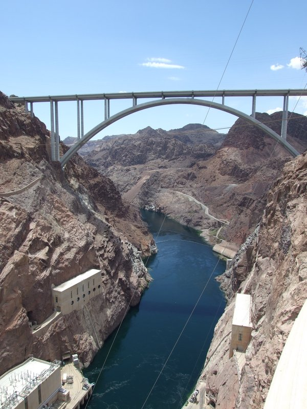 View of the Colorado River from the top of the Hoover Dam