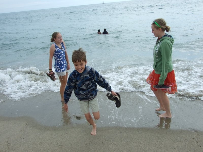 First time for our kids to touch the Pacific!