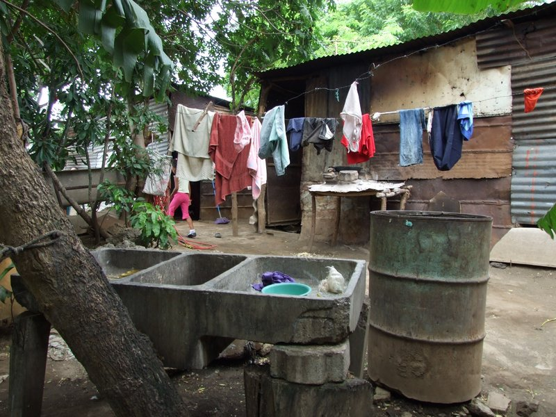 A washing station at one of the homes we visited