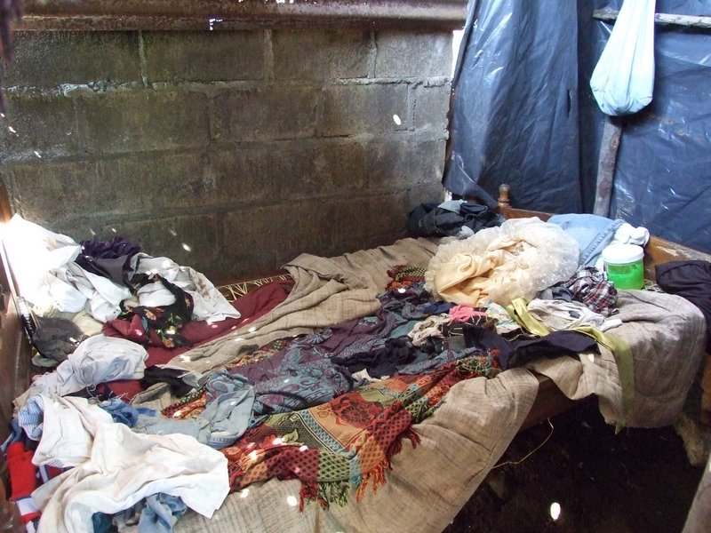 The bed their family of five shares in her brother's house