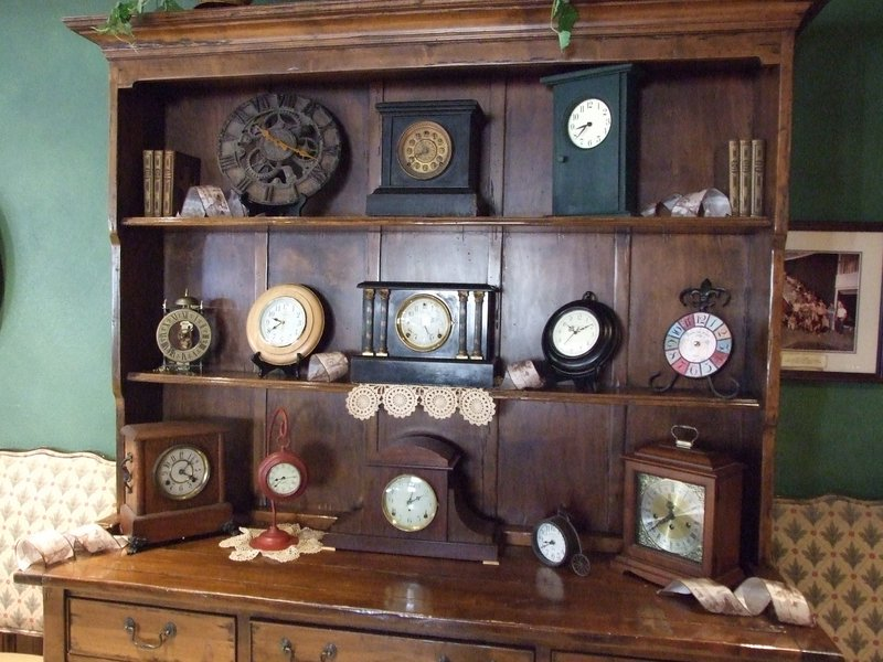 Some of the over 100 clocks Christine used to decorate