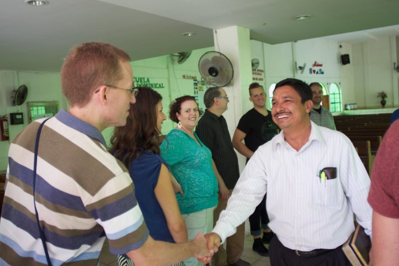 Nathan meeting the pastor at the one of the programs in Managua