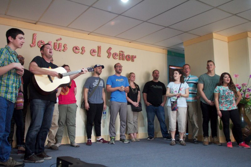 "Our team singing to the kids and families in Corinto  - we sang ""How Great is Our God"""