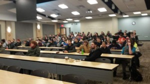 The Music Technology majors at Capital University filing in for my lecture on music business.