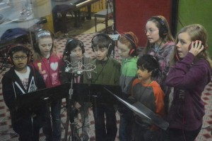 The kids singing backing vocals