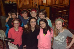 The show choir kids after recording - we paid them in pizza!