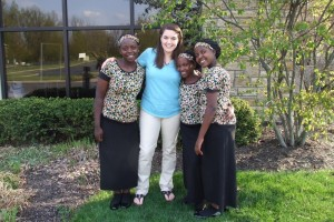 With Harriett, Javura, and Millie from the Ugandan Children's Choir