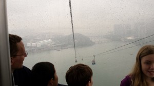 One of our last views before going into the clouds on the cable cars