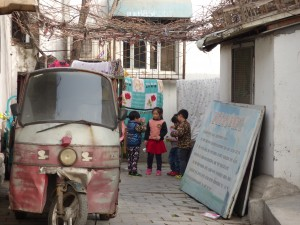 A shot down the side street of a Hutong neighborhood