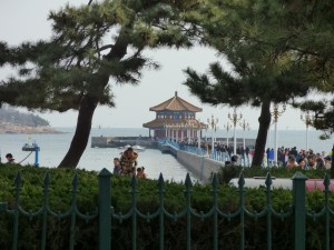 The pagoda and pier in the harbor at Qingdao, Noah's home city