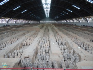 Pit number one of the Terracotta Warriors, the first found and the largest, about the size of two football fields