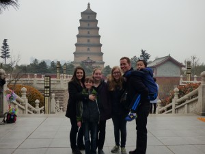 Our family at the Wild Goose Pagoda