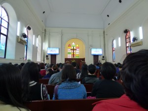 Attending Palm Sunday service at Shamian Christian Church