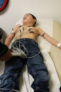 Noah getting an EKG at his pre-cath appointment.