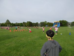 Looking out at his first field day - a little intimidating.