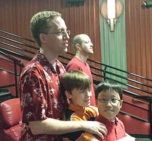 Nathan and the boys in worship on Father's Day