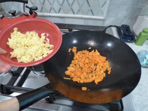 The cooked egg and starting the carrots