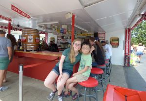 Rinnah and Noah waiting for our order at the White Turkey