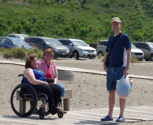 Nathan with Julie and Jessica - they took us to the beach!