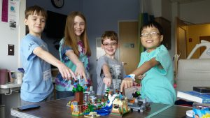 Picture from July 18th - Hannah and Micah and friends with Toby and Noah and came to build with them.  They visited every couple of days - so kind!