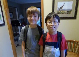 Toby and Noah heading out for the first day of school - Noah made it!