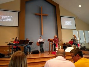 Leading worship with the team at St. Luke's