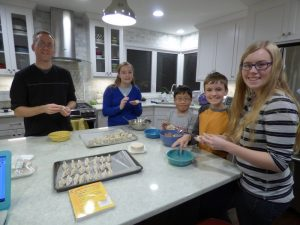 Part of learning the culture - dumpling making party! Everyone helped!